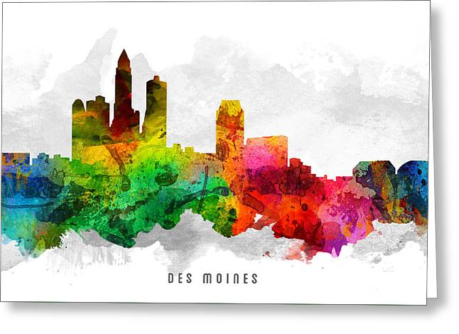 High Rise Greeting Cards - Des Moines Iowa Cityscape 12 Greeting Card by Aged Pixel