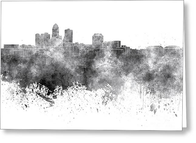 Des Moines Greeting Cards - Des Moines skyline in black watercolor on white background Greeting Card by Pablo Romero