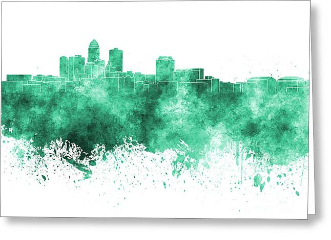 Des Moines Greeting Cards - Des Moines skyline in green watercolor on white background Greeting Card by Pablo Romero