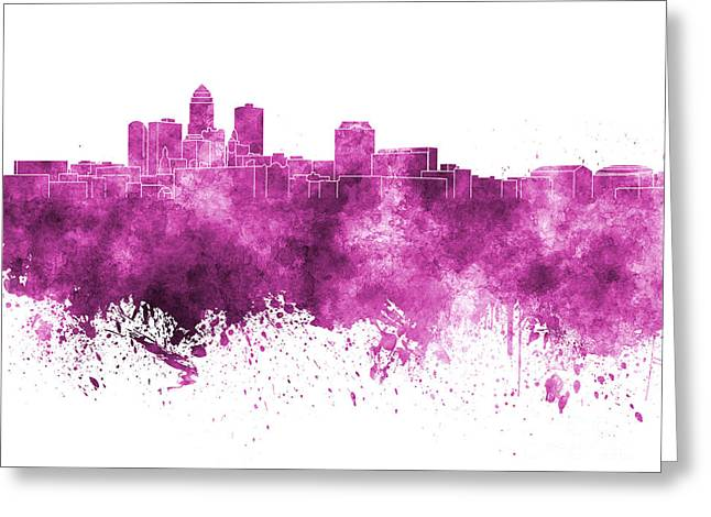 Des Moines Greeting Cards - Des Moines skyline in pink watercolor on white background Greeting Card by Pablo Romero