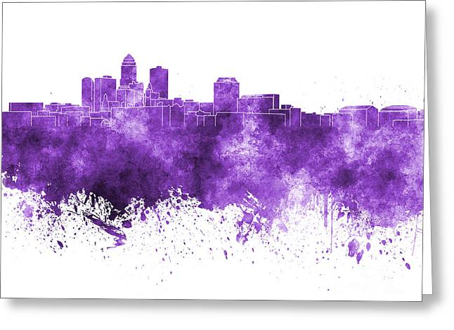 Des Moines Greeting Cards - Des Moines skyline in purple watercolor on white background Greeting Card by Pablo Romero