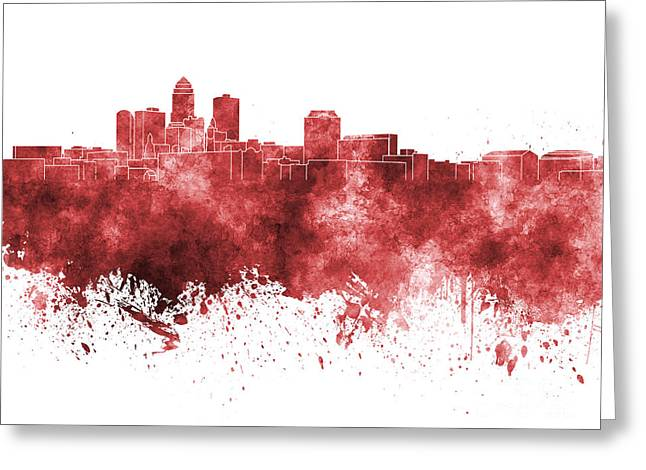 Des Moines Greeting Cards - Des Moines skyline in red watercolor on white background Greeting Card by Pablo Romero