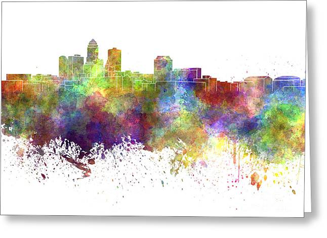 Des Moines Greeting Cards - Des Moines skyline in watercolor on white background Greeting Card by Pablo Romero