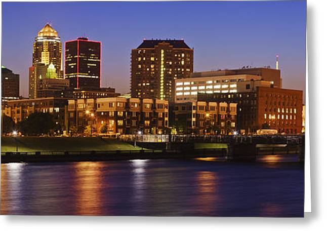 Office Space Greeting Cards - Des Moines Skyline Greeting Card by Jeremy Woodhouse