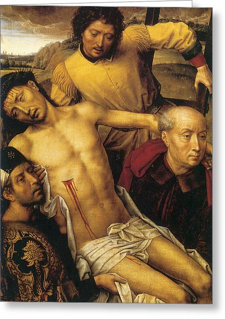 Descent From The Cross Greeting Card by Hans Memling