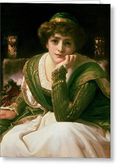 Reverie Paintings Greeting Cards - Desdemona Greeting Card by Frederic Leighton