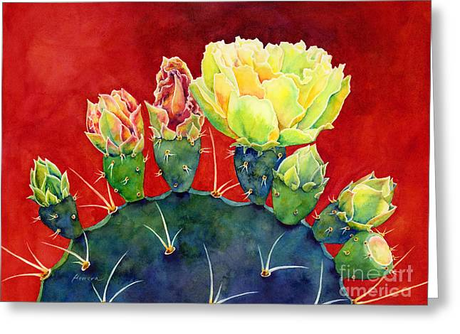 Cactus Flowers Greeting Cards - Desert Bloom 3 Greeting Card by Hailey E Herrera