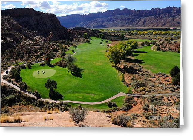 Slickrock Greeting Cards - Desert Canyon Golf Course Greeting Card by Gary Whitton