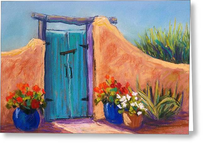 Gate Pastels Greeting Cards - Desert Gate Greeting Card by Candy Mayer