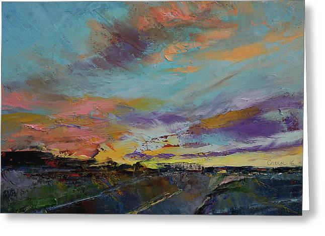 Desert Highway Greeting Card by Michael Creese
