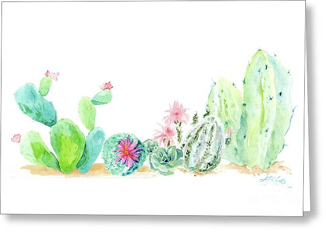 Desert In Bloom 2, Watercolor Desert Cacti N Succulents  Greeting Card by Audrey Jeanne Roberts