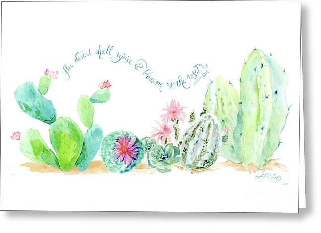 Desert In Bloom 2, Watercolor Desert Cacti N Succulents Inspirational Verse Greeting Card by Audrey Jeanne Roberts