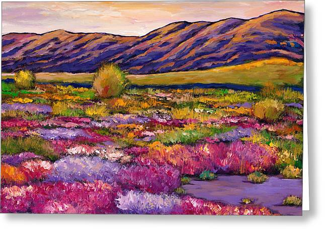 Rural Landscapes Paintings Greeting Cards - Desert in Bloom Greeting Card by Johnathan Harris