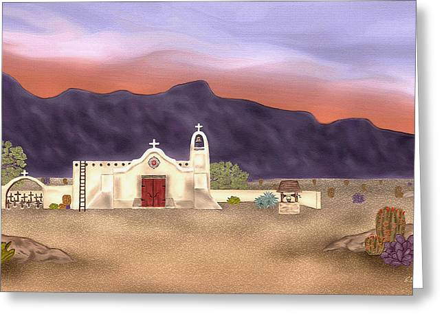 Catholic Mission Greeting Cards - Desert Mission Greeting Card by Gordon Beck