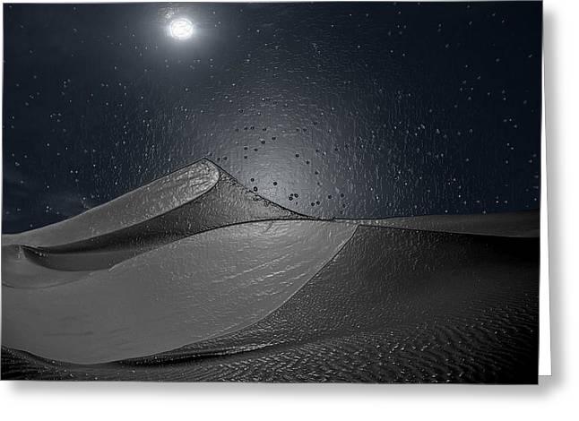 Sahara Sunlight Greeting Cards - Desert Night Greeting Card by Scott Mendell