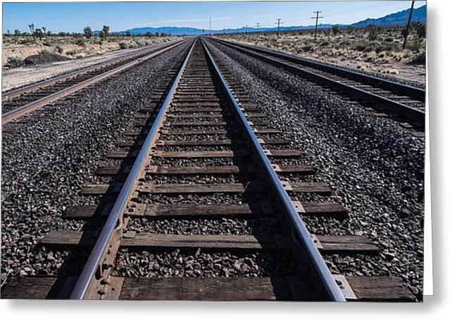 Train Tracks Greeting Cards - Desert Rails Greeting Card by Steve Gadomski