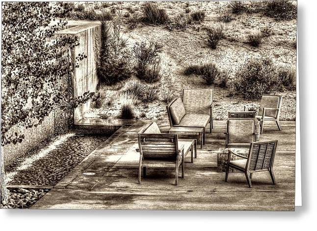 Lawn Chair Greeting Cards - Desert Retreat Greeting Card by Twain and Denise Wilkins