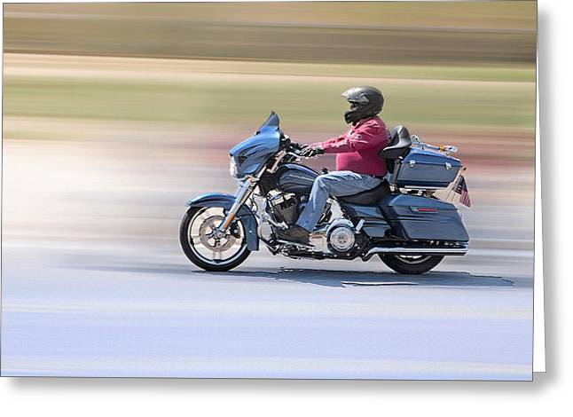 Windswept Mixed Media Greeting Cards - Desert Ride 2 - Motorcyclist in Moab Utah Greeting Card by Steve Ohlsen