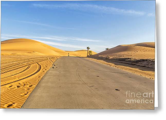 Dubai Greeting Cards - Desert Road Greeting Card by Omar Dakhane