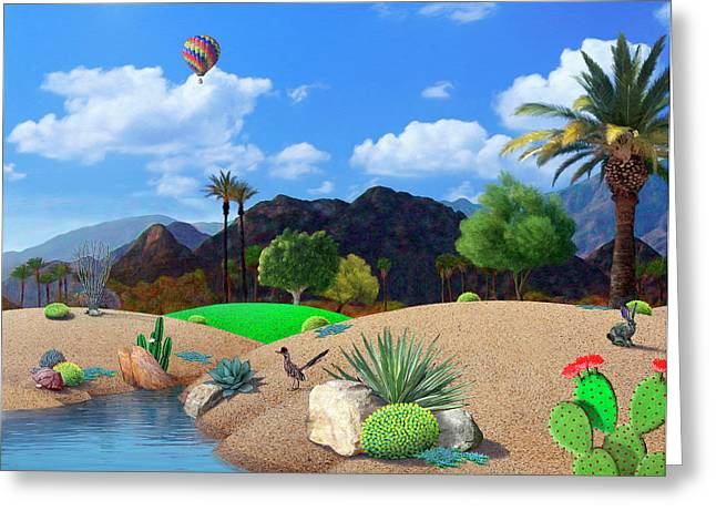 Landscape Mixed Media Greeting Cards - Desert Splendor Greeting Card by Snake Jagger