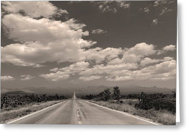 Roadway Greeting Cards - Desert Stretch Greeting Card by Gordon Beck