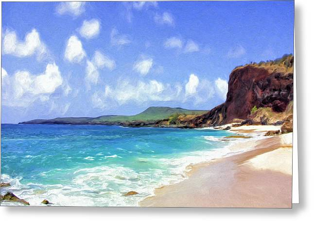 Lahaina Greeting Cards - Deserted Beach on Molokai Greeting Card by Dominic Piperata