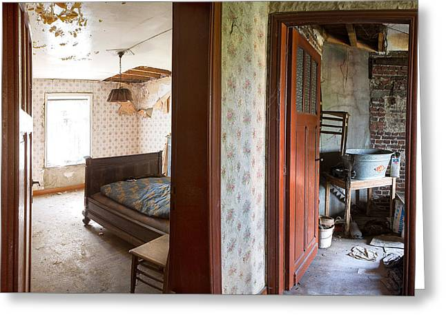 Deserted Bedroom - Urban Decay Greeting Card by Dirk Ercken