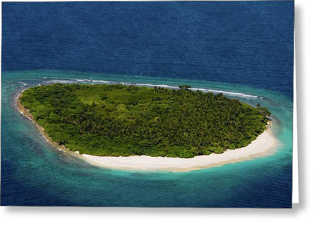 Deserted Island In Blue Ocean. Maldives  Greeting Card by Jenny Rainbow
