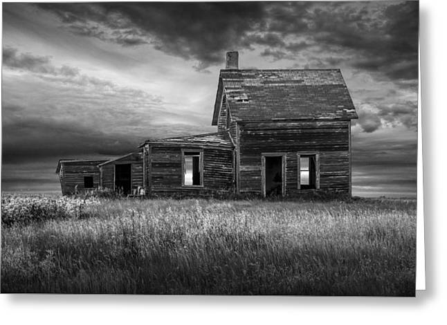 Deserted Prairie Farm House In Black And White Greeting Card by Randall Nyhof