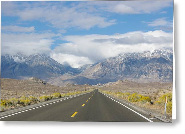 Mountains With Snow Greeting Cards - Deserted Road to Mt. Whitney Greeting Card by Jeff Lowe