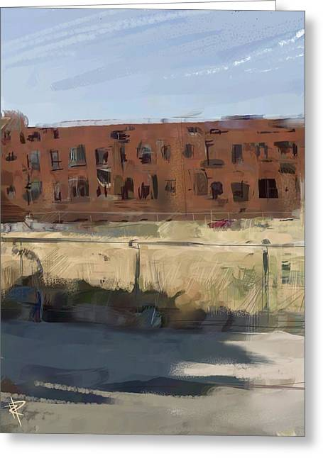 Brick Buildings Mixed Media Greeting Cards - Deserted Greeting Card by Russell Pierce