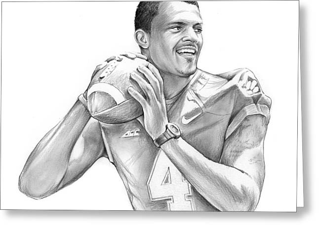 Deshaun Watson Greeting Card by Greg Joens
