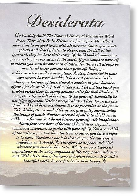 Recently Sold -  - Motivational Poster Greeting Cards - Desiderata 8 Greeting Card by Desiderata Gallery