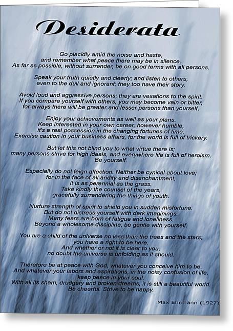 Desiderata - Blue Greeting Card by Steve Harrington