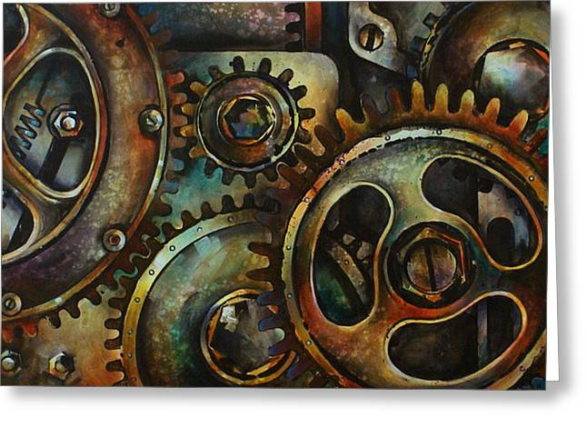 Gear Paintings Greeting Cards - Design 2 Greeting Card by Michael Lang
