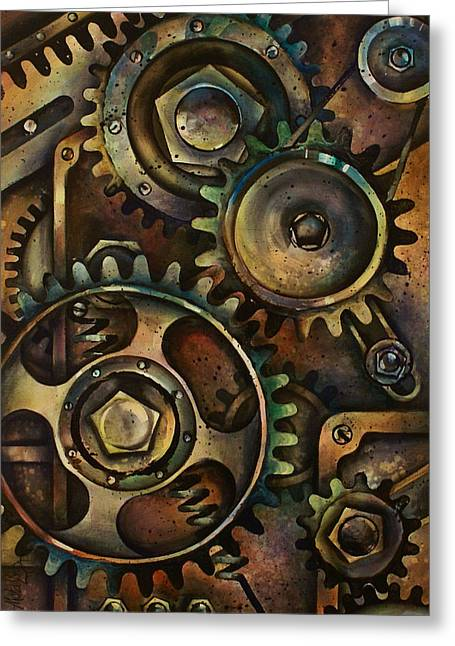 Gear Paintings Greeting Cards - Design 3 Greeting Card by Michael Lang