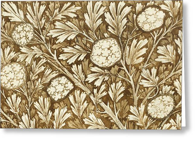 William Drawings Greeting Cards - Design for a foliage background Greeting Card by William Morris