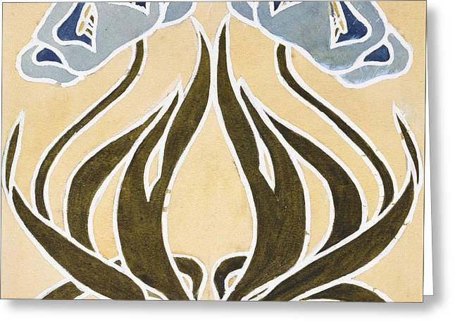 Gothic Revival Greeting Cards - Design for a Minstrel Tile Greeting Card by William Morris