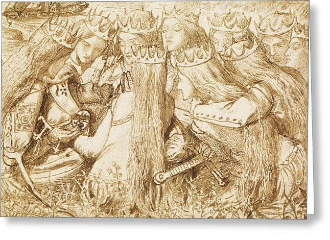 Design For Moxon's Tennyson - King Arthur And The Weeping Queens Greeting Card by Dante Gabriel Rossetti