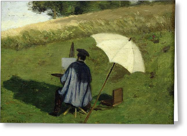 Desire Dubois Painting in the Open Air Greeting Card by Henri Joseph Constant Dutilleux
