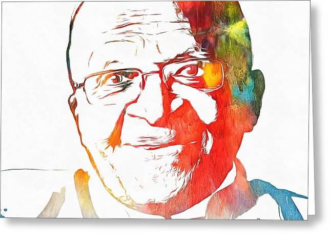Desmond Tutu Watercolor Greeting Card by Dan Sproul