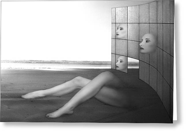 Deep Feelings Greeting Cards - Desolate - Self Portrait Greeting Card by Jaeda DeWalt