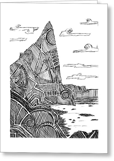 Pen And Paper Greeting Cards - Desolation Island Greeting Card by Hinterlund