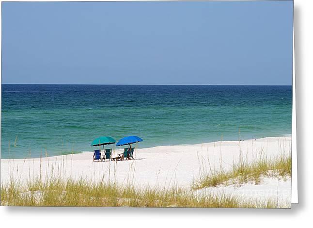 Empty Chairs Greeting Cards - Destin Beach Greeting Card by Karen Adams