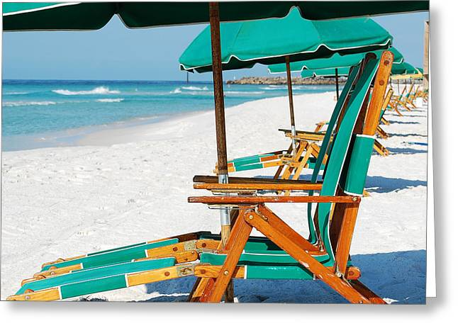 Florida Greeting Cards - Destin Florida Beach Chairs and Green Umbrellas Square Format Greeting Card by Shawn O