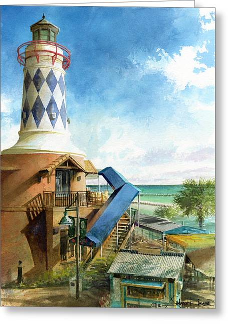 Tropical Oceans Greeting Cards - Destin Lighthouse Greeting Card by Andrew King