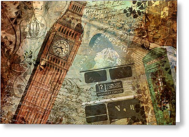 Telephone Booth Greeting Cards - Destination London Greeting Card by Mindy Sommers