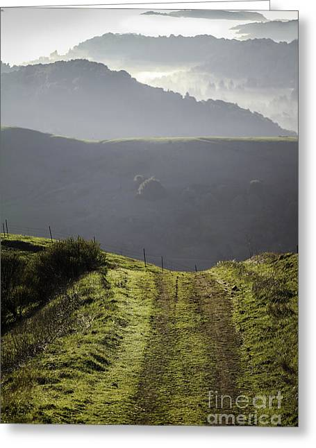 Mountain Road Greeting Cards - Destination Unknown Greeting Card by Hugh Stickney