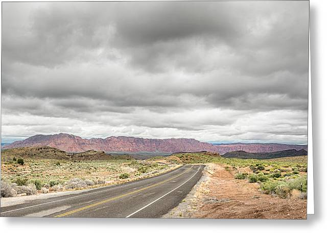 Overcast Day Greeting Cards - Destiny Beckons - Old Highway 91 - NV Greeting Card by Steve Lagreca