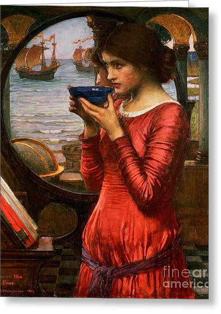 Glass Greeting Cards - Destiny Greeting Card by John William Waterhouse